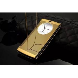 Чехол горизонтальная книжка на пластиковой основе с зеркальной поверхностью и окном вызова для LG G4  Желтый