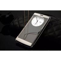 Чехол горизонтальная книжка на пластиковой основе с зеркальной поверхностью и окном вызова для LG G4  Серый