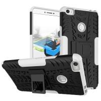 Противоударный силиконовый матовый чехол с нескользящими гранями и поликарбонатными вставками экстрим защиты с встроенной ножкой-подставкой для Xiaomi Mi Max Белый