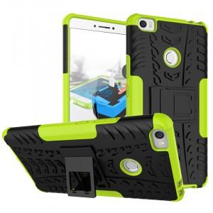 Противоударный силиконовый матовый чехол с нескользящими гранями и поликарбонатными вставками экстрим защиты с встроенной ножкой-подставкой для Xiaomi Mi Max Зеленый
