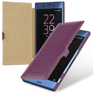 Кожаный чехол горизонтальная книжка (премиум нат. кожа) с крепежной застежкой для Sony Xperia X  Фиолетовый