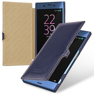 Кожаный чехол горизонтальная книжка (премиум нат. кожа) с крепежной застежкой для Sony Xperia X  Синий