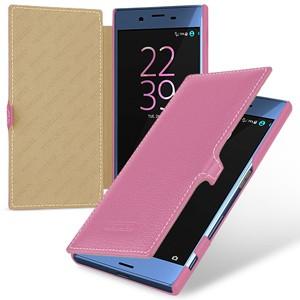 Кожаный чехол горизонтальная книжка (премиум нат. кожа) с крепежной застежкой для Sony Xperia X  Розовый