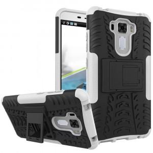 Силиконовый матовый непрозрачный чехол с нескользящими гранями и поликарбонатными вставками экстрим защиты с встроенной ножкой-подставкой для Asus ZenFone 3 Laser  Белый
