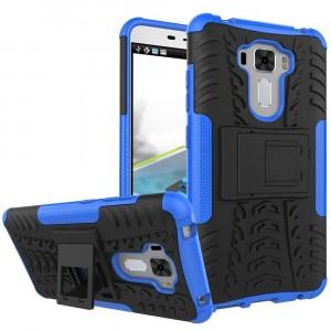 Силиконовый матовый непрозрачный чехол с нескользящими гранями и поликарбонатными вставками экстрим защиты с встроенной ножкой-подставкой для Asus ZenFone 3 Laser  Синий