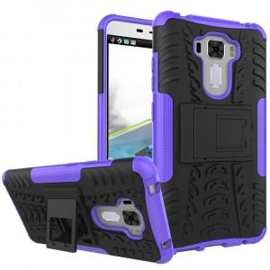 Силиконовый матовый непрозрачный чехол с нескользящими гранями и поликарбонатными вставками экстрим защиты с встроенной ножкой-подставкой для Asus ZenFone 3 Laser  Фиолетовый