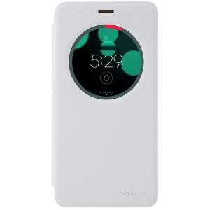 Чехол горизонтальная книжка на пластиковой нескользящей премиум основе с окном вызова для Asus ZenFone 3 Laser Белый