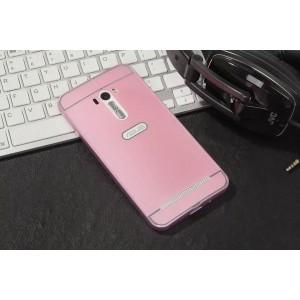 Двухкомпонентный чехол c металлическим бампером с поликарбонатной накладкой и отверстием для логотипа для ASUS Zenfone Selfie  Розовый
