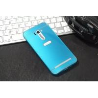 Двухкомпонентный чехол c металлическим бампером с поликарбонатной накладкой и отверстием для логотипа для ASUS Zenfone Selfie  Голубой