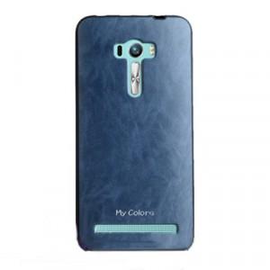 Силиконовый матовый непрозрачный чехол с текстурным покрытием Кожа для ASUS Zenfone Selfie  Синий