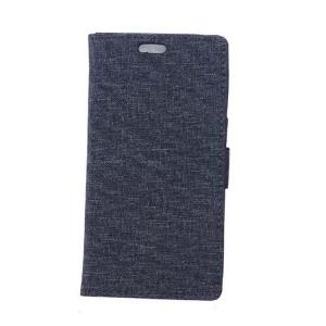 Чехол горизонтальная книжка подставка на силиконовой основе с отсеком для карт и тканевым покрытием на магнитной защелке для Sony Xperia X Compact