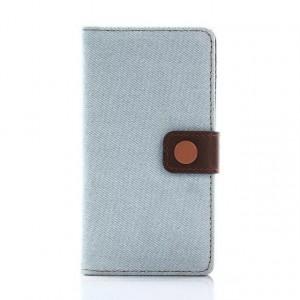 Чехол горизонтальная книжка подставка на силиконовой основе с отсеком для карт и тканевым покрытием на крепежной застежке для Sony Xperia X Compact