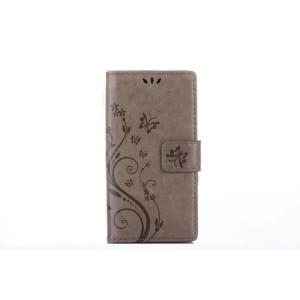 Чехол горизонтальная книжка подставка текстура Бабочка на силиконовой основе с отсеком для карт на магнитной защелке для Sony Xperia X Compact