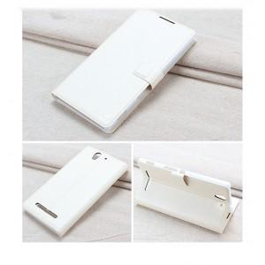 Чехол горизонтальная книжка подставка на пластиковой основе с отсеком для карт на магнитной защелке для Sony Xperia C3