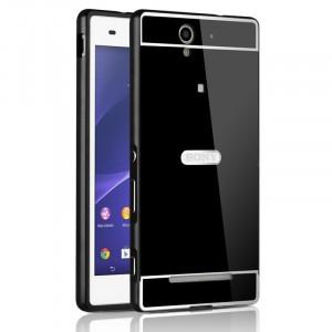 Двухкомпонентный чехол c металлическим бампером с поликарбонатной накладкой и зеркальным покрытием для Sony Xperia C3  Черный