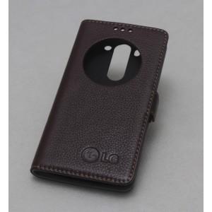 Кожаный чехол горизонтальная книжка подставка (премиум нат. кожа) с окном вызова на магнитной застежке для LG G4 Коричневый