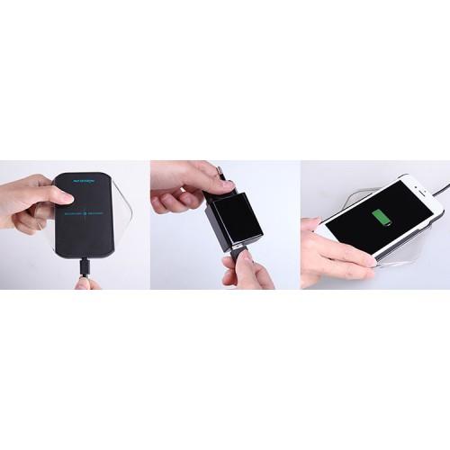 Экстратонкое 10 мм стеклянное беспроводное qi зарядное устройство 110*100мм с LED-подсветкой