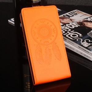 Глянцевый водоотталкивающий чехол вертикальная книжка текстура Ловец снов на силиконовой основе с отсеком для карт на магнитной защелке для Meizu U20 Оранжевый