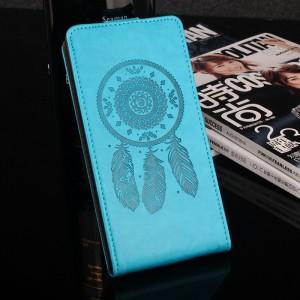 Глянцевый водоотталкивающий чехол вертикальная книжка текстура Ловец снов на силиконовой основе с отсеком для карт на магнитной защелке для Meizu U20 Голубой