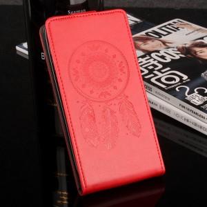 Глянцевый водоотталкивающий чехол вертикальная книжка текстура Ловец снов на силиконовой основе с отсеком для карт на магнитной защелке для Meizu U20 Красный