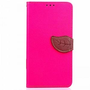 Чехол горизонтальная книжка подставка на силиконовой основе с отсеком для карт на дизайнерской магнитной защелке для HTC Desire 816  Пурпурный