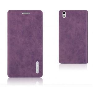 Винтажный чехол горизонтальная книжка подставка на пластиковой основе с отсеком для карт на присосках для HTC Desire 816  Фиолетовый