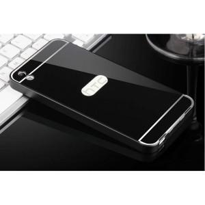 Двухкомпонентный чехол c металлическим бампером с поликарбонатной накладкой и зеркальным покрытием для HTC Desire 816  Черный
