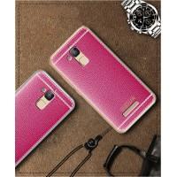 Силиконовый матовый непрозрачный чехол с текстурным покрытием Кожа для Asus ZenFone 3 Max Розовый