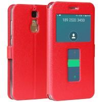 Чехол горизонтальная книжка подставка на силиконовой основе с окном вызова и свайпом на магнитной защелке для ZTE Blade A610 Plus  Красный