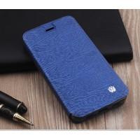 Чехол горизонтальная книжка подставка текстура Дерево на силиконовой основе для ZTE Blade A610 Plus  Синий
