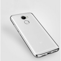 Силиконовый глянцевый полупрозрачный чехол с текстурным покрытием Металлик для Xiaomi RedMi 4 Серый