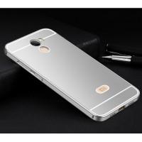 Двухкомпонентный чехол c металлическим бампером с поликарбонатной накладкой и отверстием для логотипа для Xiaomi RedMi 4 Серый