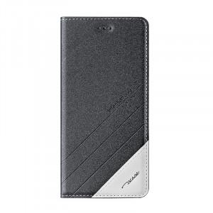 Чехол горизонтальная книжка подставка текстура Линии на силиконовой основе для Xiaomi RedMi 4  Черный