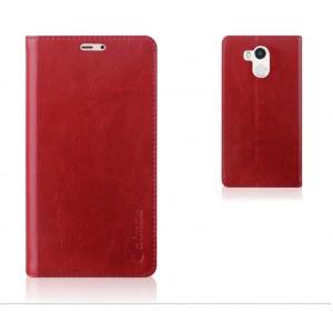 Глянцевый водоотталкивающий чехол горизонтальная книжка подставка на силиконовой основе с отсеком для карт на присосках для Xiaomi RedMi 4 Pro  Бордовый
