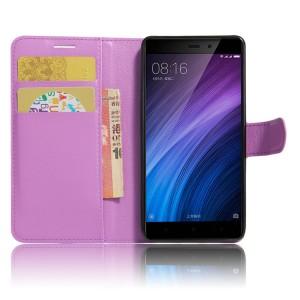Чехол портмоне подставка на силиконовой основе с отсеком для карт на магнитной защелке для Xiaomi RedMi 4/4Pro Фиолетовый