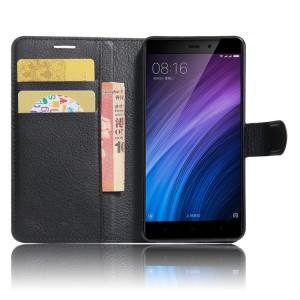 Чехол портмоне подставка на силиконовой основе с отсеком для карт на магнитной защелке для Xiaomi RedMi 4/4Pro Черный