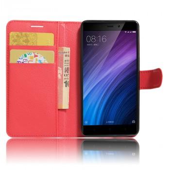 Чехол портмоне подставка на силиконовой основе с отсеком для карт на магнитной защелке для Xiaomi RedMi 4/4Pro Красный