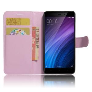 Чехол портмоне подставка на силиконовой основе с отсеком для карт на магнитной защелке для Xiaomi RedMi 4/4Pro Розовый