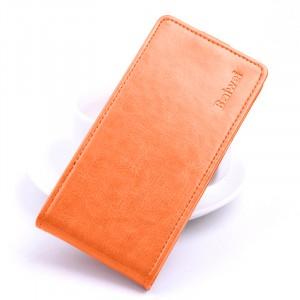 Глянцевый водоотталкивающий чехол вертикальная книжка на силиконовой основе на магнитной защелке для Xiaomi RedMi 4A  Оранжевый