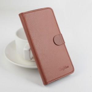 Чехол портмоне подставка на силиконовой основе с отсеком для карт на магнитной защелке для Xiaomi RedMi 4A Коричневый