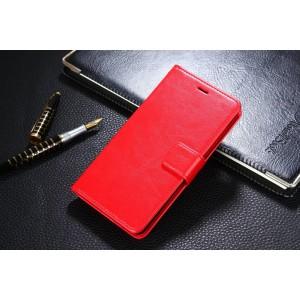 Глянцевый водоотталкивающий чехол портмоне подставка на пластиковой основе с отсеком для карт на магнитной защелке для Xiaomi RedMi 4A  Красный