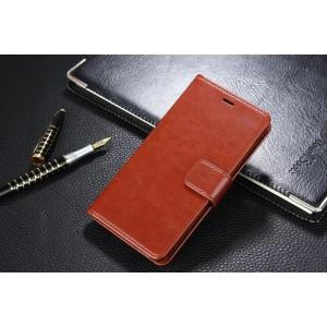 Глянцевый водоотталкивающий чехол портмоне подставка на пластиковой основе с отсеком для карт на магнитной защелке для Xiaomi RedMi 4A  Коричневый