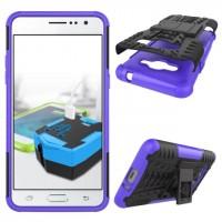 Силиконовый матовый непрозрачный чехол с нескользящими гранями и поликарбонатными вставками экстрим защиты с встроенной ножкой-подставкой для Samsung Galaxy J2 Prime Фиолетовый