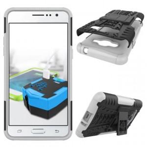 Силиконовый матовый непрозрачный чехол с нескользящими гранями и поликарбонатными вставками экстрим защиты с встроенной ножкой-подставкой для Samsung Galaxy J2 Prime