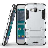 Двухкомпонентный силиконовый матовый непрозрачный чехол с поликарбонатными вставками с встроенной ножкой-подставкой для Samsung Galaxy J2 Prime  Белый
