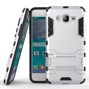 Двухкомпонентный силиконовый матовый непрозрачный чехол с поликарбонатными вставками с встроенной ножкой-подставкой для Samsung Galaxy J2 Prime