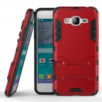 Двухкомпонентный силиконовый матовый непрозрачный чехол с поликарбонатными вставками с встроенной ножкой-подставкой для Samsung Galaxy J2 Prime  Красный