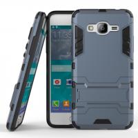 Двухкомпонентный силиконовый матовый непрозрачный чехол с поликарбонатными вставками с встроенной ножкой-подставкой для Samsung Galaxy J2 Prime  Синий