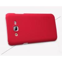 Пластиковый непрозрачный матовый премиум чехол с повышенной шероховатостью для Samsung Galaxy J2 Prime  Красный