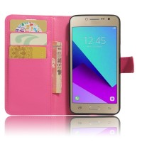 Чехол горизонтальная книжка подставка на силиконовой основе с отсеком для карт на магнитной защелке для Samsung Galaxy J2 Prime  Пурпурный